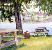 East Hampton Painting Framed Prints - Picnic at Lake Pocotopaug Framed Print by Katherine  Berlin