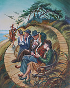 Missing You Paintings - Picnic At Lepe by Gilly  Marklew
