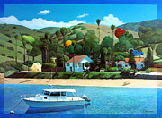Catalina Prints - Picnic at the Isthmus Print by Snake Jagger