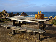 Picnic Basket Prints - Picnic Basket on Wooden Picnic Table Print by David Buffington
