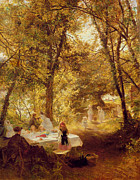 Al Fresco Metal Prints - Picnic Metal Print by Charles James Lewis