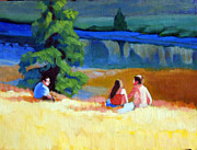 Figures Painting Originals - Picnic  by Edwin Abreu