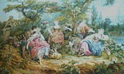 Woman Tapestries - Textiles Metal Prints - Picnic in France Tapestry Metal Print by Unique Consignment