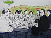 Park Scene Drawings - Picnic in the Mountains by Marwan George Khoury