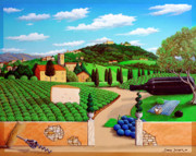 Wine Canvas Paintings - Picnic in Tuscany by Snake Jagger
