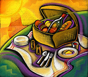 Youthful Painting Metal Prints - Picnic Metal Print by Leon Zernitsky