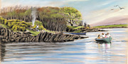 Irish Artists Prints - Picnic on the lake Print by Vanda Luddy