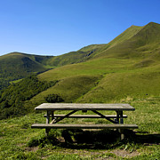 Landscape; Mountainous; Mountains; Nature; Nobody; Outdoors; Outside; Steppe; Steppes; Stones; The Altay Mountains; Tourism Prints - Picnic table in front of the pass Col of Croix Morand. Auvergne. France Print by Bernard Jaubert