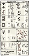 Hieroglyphic Prints - Pictographs And Linear Script Symbols Print by Sheila Terry