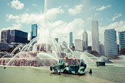 Famous Buildings Posters - Picture of Buckingham Fountain with Chicago Skyline Poster by Paul Velgos