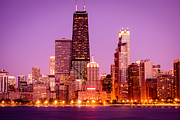 Architecture Metal Prints - Picture of Chicago Skyline by Night Metal Print by Paul Velgos