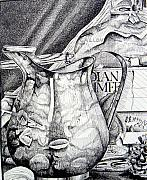 Pitcher Drawings Metal Prints - Picture of Pitcher Metal Print by Linda Shackelford