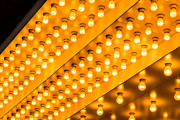 Illuminated Tapestries Textiles Metal Prints - Picture of Theater Lights Metal Print by Paul Velgos
