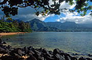 Kauai Prints Prints - Picture Perfect Hanalei Bay Print by Kathy Yates