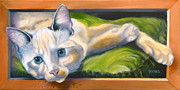 Picture Frame Framed Prints - Picture Purrfect Framed Print by Susan A Becker