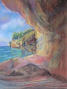 Northern Michigan Paintings - Picture Rocks by Sandra Strohschein