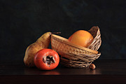 Dark Wood Table  Framed Prints - Picturesque Fruit Framed Print by Panga Natalie Ukraine