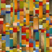 Multicolored Posters - Pieces Parts Poster by Michelle Calkins