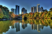 Photographers College Park Metal Prints - Piedmont Park Atlanta City View Metal Print by Corky Willis Atlanta Photography