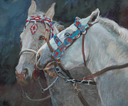 White Horses Pastels Framed Prints - Piegan Horses - Beaded Bridles Framed Print by Mary Ann Cherry