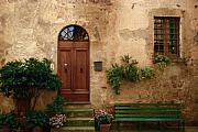 Entrance Door Framed Prints - Pienza Doorway Framed Print by Andrew Soundarajan