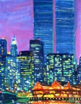 Twin Towers Trade Center Painting Metal Prints - Pier 17 Summer NIght 2001 Metal Print by Vladimir Kozma