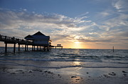 Tropical Sunset Metal Prints - Pier 60 at Clearwater Beach Florida Metal Print by Bill Cannon