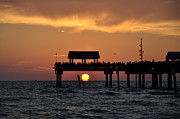 Pier 60 Clearwater Beach - Watching The Sunset Print by Bill Cannon