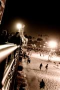 Santa Monica Digital Art Metal Prints - Pier at Night Metal Print by Ronald Talley