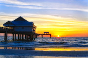 Tropical Sunset Metal Prints - Pier  at Sunset Clearwater Beach Florida Metal Print by George Oze