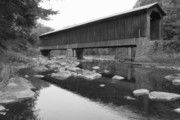 Covered Bridge Prints - Pier Covered Railroad Bridge New Hampshire Print by John Burk