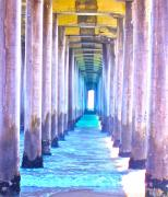 Beach Photograph Digital Art Prints - Pier Print by Gwyn Newcombe