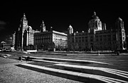 Liverpool Posters - Pier Head Open Area And Liverpools Three Graces Listed Buildings On The Liverpool Waterfront  Poster by Joe Fox