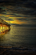 Beach Scenes Photos - Pier Illuminated by Emily Stauring