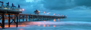 San Clemente Pier Posters - Pier in Blue Panorama Poster by Gary Zuercher