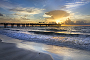 Florida Bridges Prints - Pier Lights Print by Debra and Dave Vanderlaan