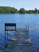 Northwoods Photos - Pier on the Lake by Snapshot  Studio