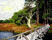 America Mixed Media - Pier on Wadmalaw Island by Sarah Loft