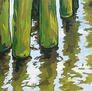 Ocean Landscape Originals - Pier Reflections by Sandy Tracey