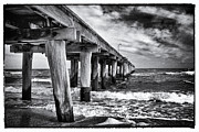 Melbourne Beach Framed Prints - Pier to the horizon - black and white Framed Print by Hideaki Sakurai