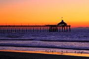Coronado Beach Framed Prints - Pier with Sunset Framed Print by Greg Swift