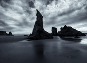 Rock Face Photo Originals - Piercing the Clouds by Mike  Dawson