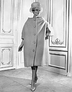 Three Quarter Sleeves Framed Prints - Pierre Cardin Womens Voluminous Coat Framed Print by Everett
