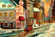 Winter Scenes Paintings - Pierre Du Calvet House Old Montreal by Carole Spandau