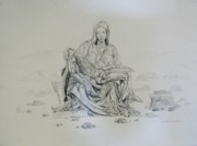 Christianity Drawings - Pieta by Art Nomad Sandra  Hansen