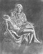 Michelangelo Drawings Prints - Pieta Print by Frank SantAgata
