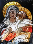 Religious Art Glass Art - Pieta by Julie Christensen