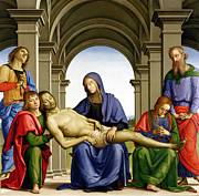 Virgin Mary Paintings - Pieta by Pietro Perugino