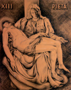 Religious Art Drawings Prints - Pieta Study Print by Otto Werner
