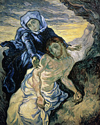 Brushstroke Prints - Pieta Print by Vincent van Gogh